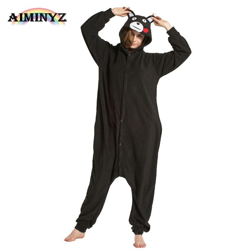Unisex Adults Flannel Hooded Onesies Pajamas Sets Cosplay Cartoon Cute Kumamon Pijamas Animal Sleepwear For Women Men Bear