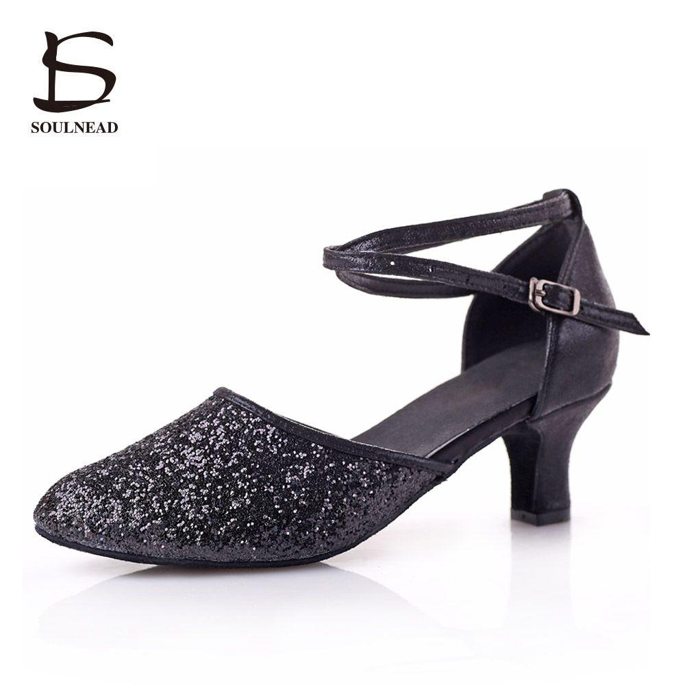 2017 New Adult Latin Dance Shoes Black Sequins  Dancing Shoes For Women Salsa Tango Tap Dance Shoes  Ladies Ballroom Latin Shoes