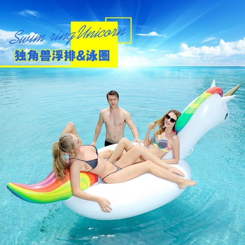 Hot Sale 200cm Unicorn Inflatable Pool Float Mattress Licorne Swimming Boia Piscina Toys Water Fun Tube Raft Adults Ride-on