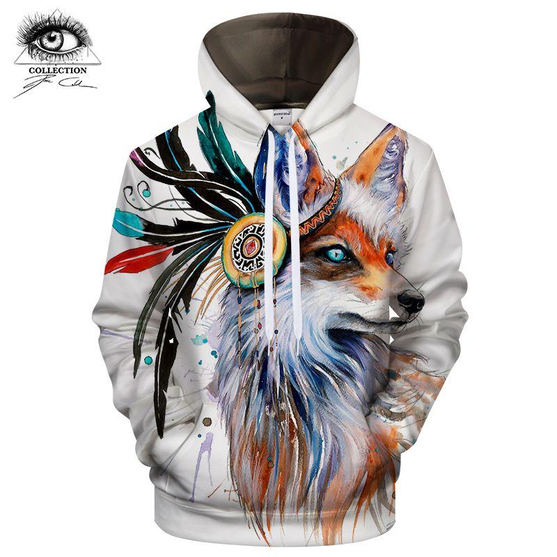 Fox by Pixie cold art Hoodies Sweatshirts 3D Men Hoodies Brand Tracksuit Drop Ship Streetwear Casual Pullover Animal ZOOTOP BEAR