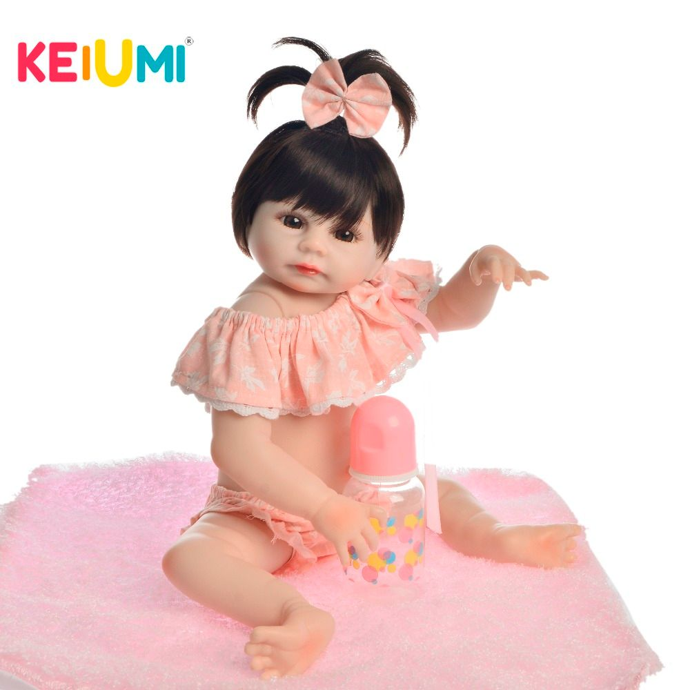 KEIUMI Lovely Baby Reborn Girl Doll Full Silicone Body Lifelike Bonecas Newborn Princess Babies Bebe Bathe Toy Birthday Present