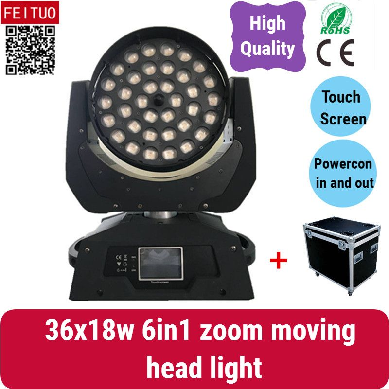 A-2X touch screen 36x18w zoom moving head rgbaw uv Zoom LED Moving-Head Wash/FLY CASE