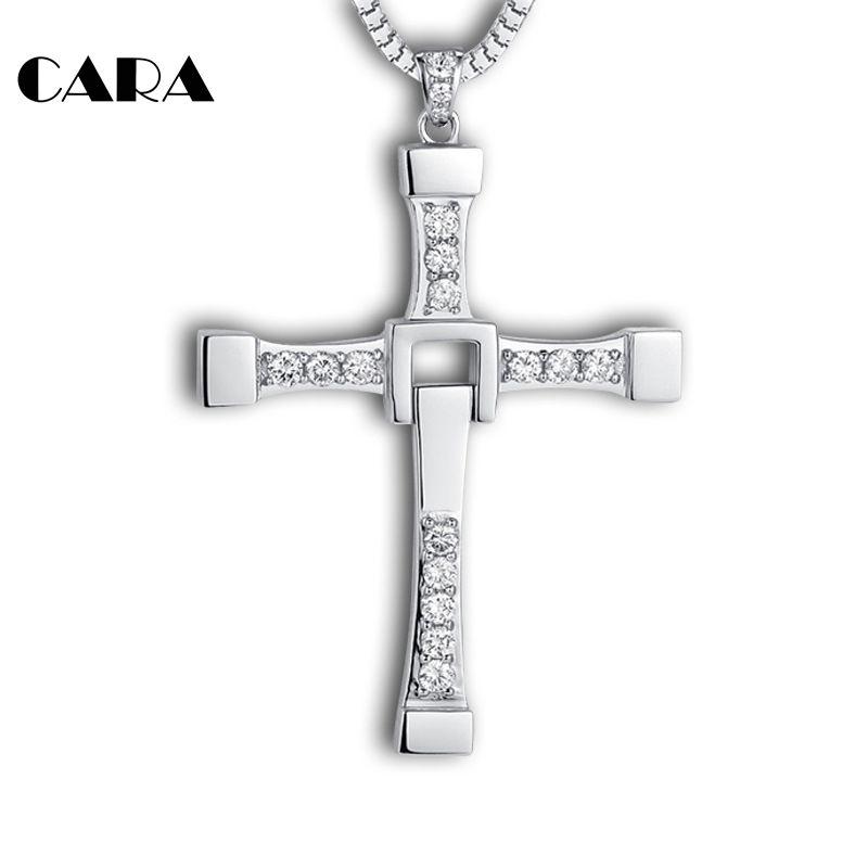 Nouveau Fast furieux 8 hip hop collier pendentif Dominic Toretto croix Top 316 acier inoxydable avec cristal pendentif pour hommes CAGF0128