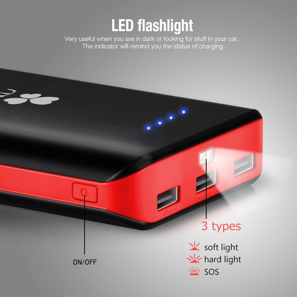 EC Technology Power Bank 20000mah High Capacity 3 USB Port PowerBank Fast Charging Universal External Battery Charger