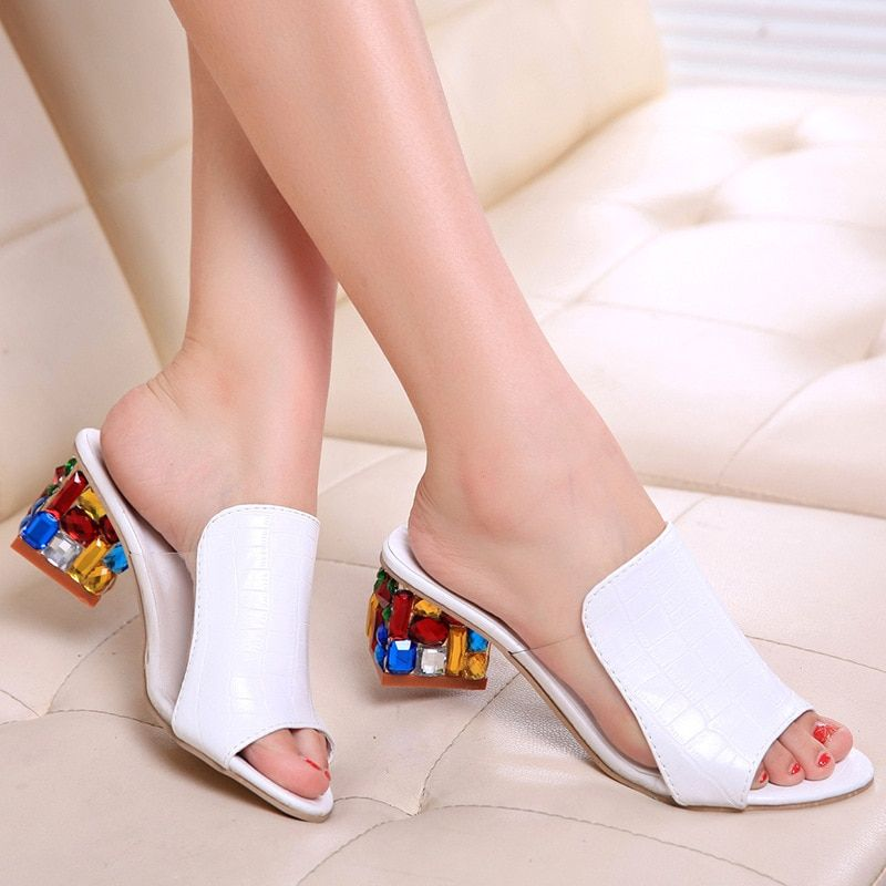 Fashion Heel Sandals Women Flats Flower Elegant Peep Toe Sandals PU Square Heels Colorful Ladies Casual Shoes Sandalias Mujer