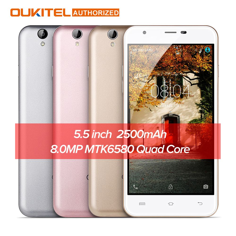 Original Oukitel U7 MAX 5.5 Inch Smartphone HD Screen MTK6580A Quad Core 1G+8G 8MP Camera 2500mAh 3G WCDMA Cellphone In Stock