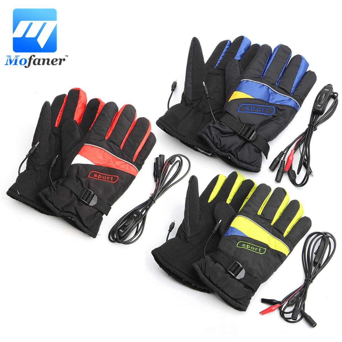 Mofaner Waterproof Motorcycle Electric Heating Gloves Motorbike Bicycle Winter Warmer Gloves Outdoor Ski Li-ion Battery Gloves