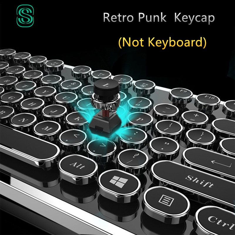 DIY key cap Retro steam punk typewriter mechanical <font><b>keyboard</b></font> keycap 104 87 standard keys for gaming gamer <font><b>keyboard</b></font> key cap