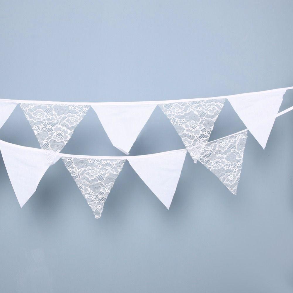 12 Fahnen 3,2 mt Weiß Spitze Bunting Pennant Flagge Banner Garland Hochzeit/Geburtstag/Baby Show Party Dekorative Zubehör 15X15 cm