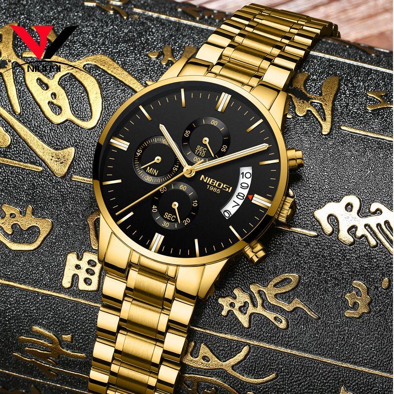 Relogio NIBOSI Waterproof Casual Watch Men Luxury Brand Quartz Military Sport Watch Leather Steel Men's Wristwatch Reloj Hombre