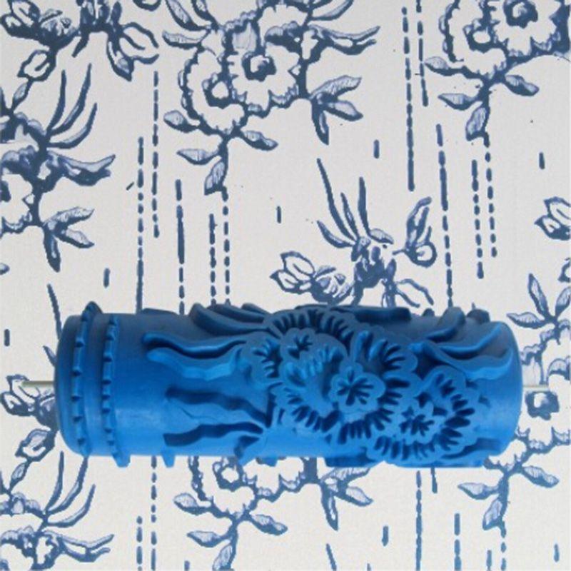 Accessoires outils-rouleau de peinture murale en caoutchouc 3D de 5 pouces, décoration murale de rouleau de peinture bleue sans poignée, 075Y