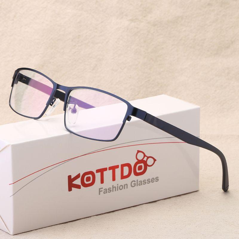 KOTTDO Retro Metal Reading Eyeglasses Men Fashion Myopia Glasses Spectacle Frames for Male Anti Blue Ray Computer Glasses