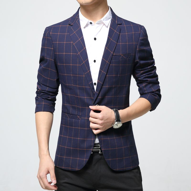 Mens plaid blazer cotton mixed casual coat slim fit Male clothing new 2016 navy blue Europe Drop shipping plus size 4xL 5xl 6xl