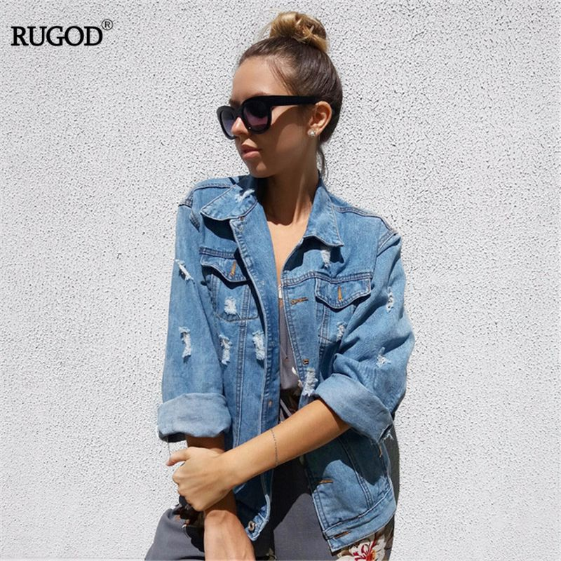 Women Basic Coats Spring And Autumn Women Denim Jacket 2018 Vintage Long Sleeve Loose Female Jeans Coat Casual Girls Outwear
