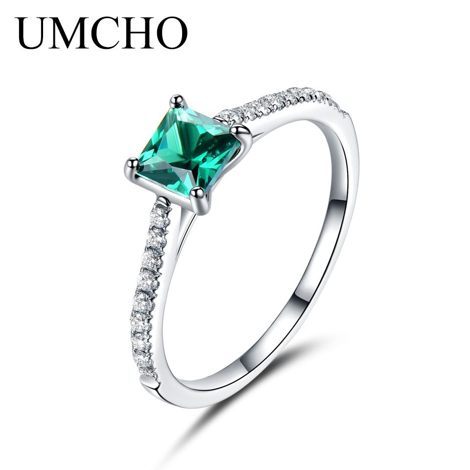 UMCHO Green <font><b>Nano</b></font> Emerald Ring Genuine Solid 925 Sterling Silver Fashion Vintage May Birthstone Rings For Women Fine Jewelry