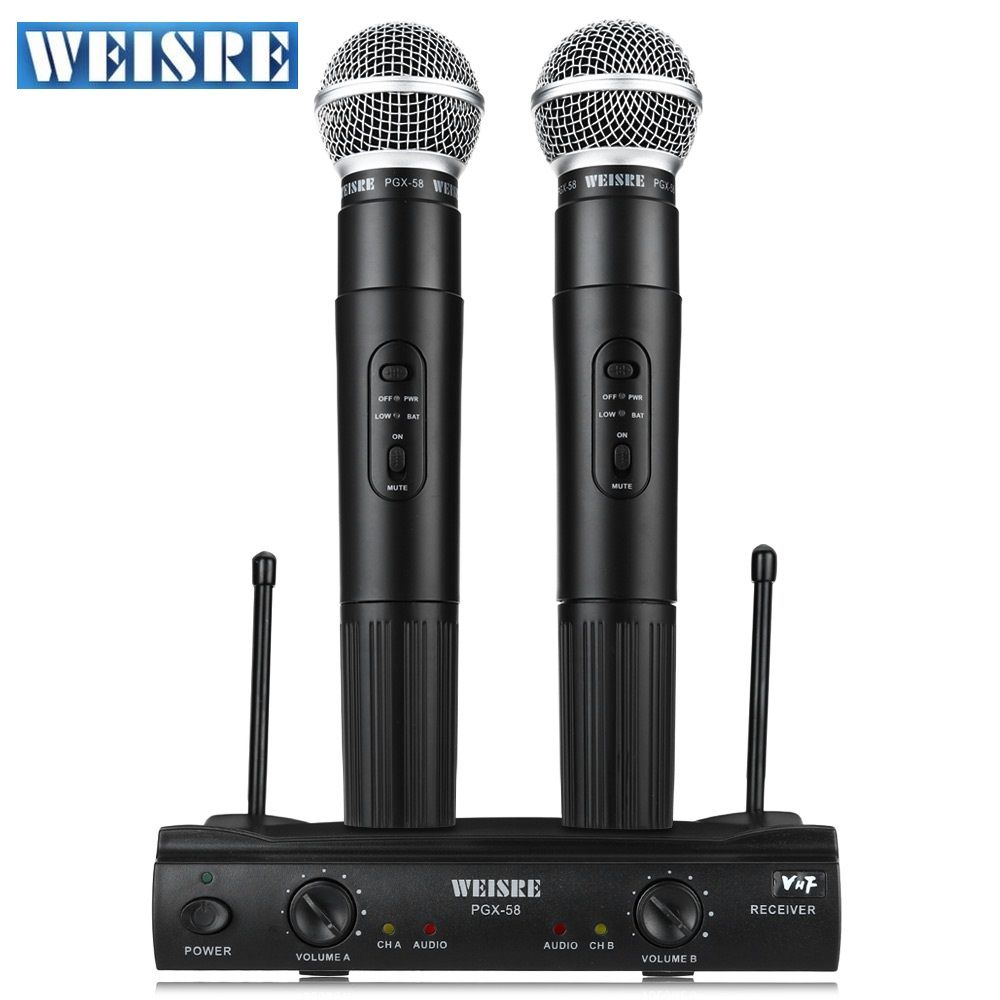 Professional WEISRE PGX58 VHF Wireless Microphone Dual Handheld+2 x Mic Cordless with Receiver for Karaoke KTV Omni-directional