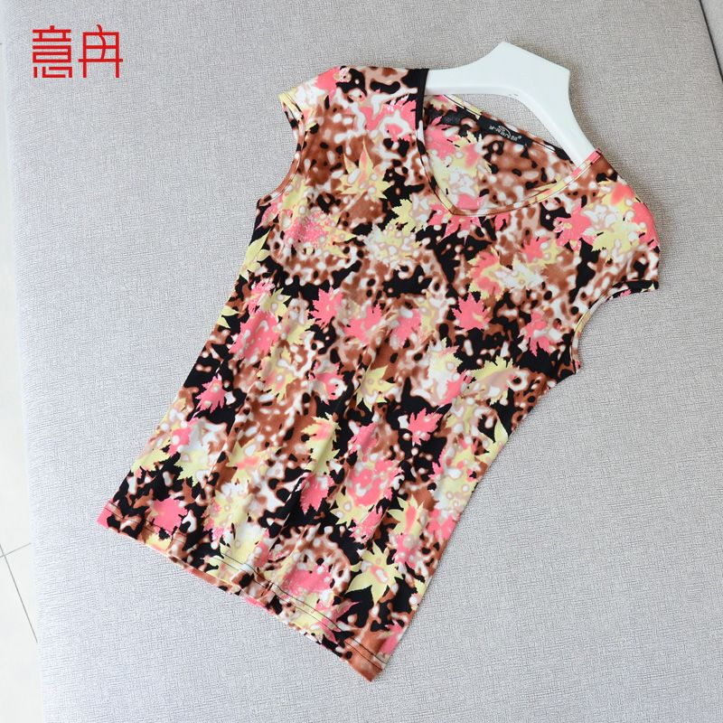 Yi Ran Xia Han version of women's printed silk T-shirt short sleeved female V collar loose big slim silk silk jacket