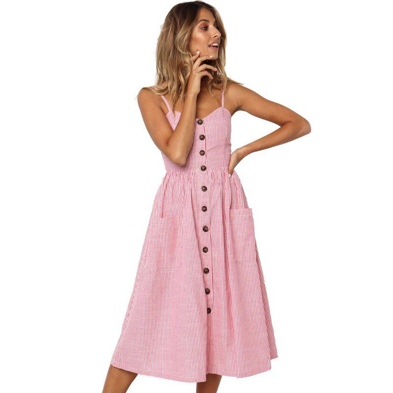 Bouton rayé imprimé coton lin décontracté été robe 2019 Sexy Spaghetti sangle v-cou hors épaule femmes robe mi-longue Vestidos