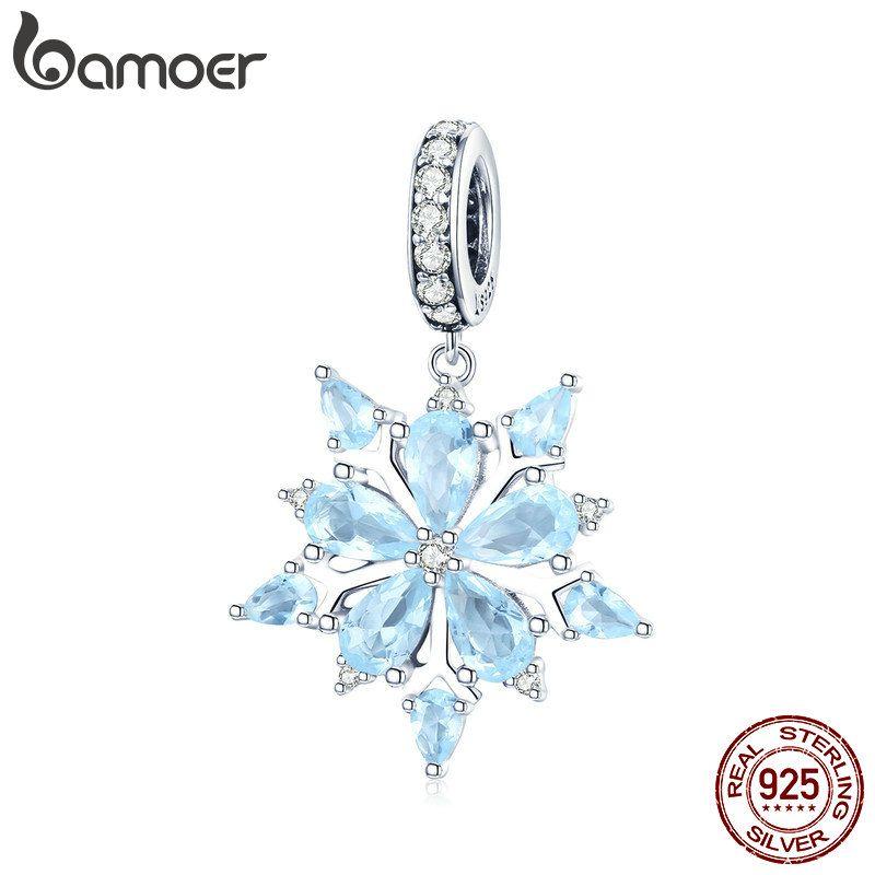 BAMOER Hohe Qualität 925 Sterling Silber Winter Schneeflocke Blau CZ Elegante Charms Anhänger fit Halsketten Anhänger Schmuck SCC940