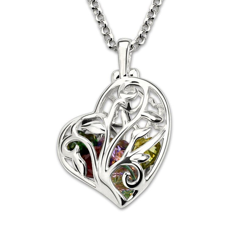 Personalized Heart Cage Family Tree Necklace with Birthstones Gold Color Unique Fashion Jewelry for Mother