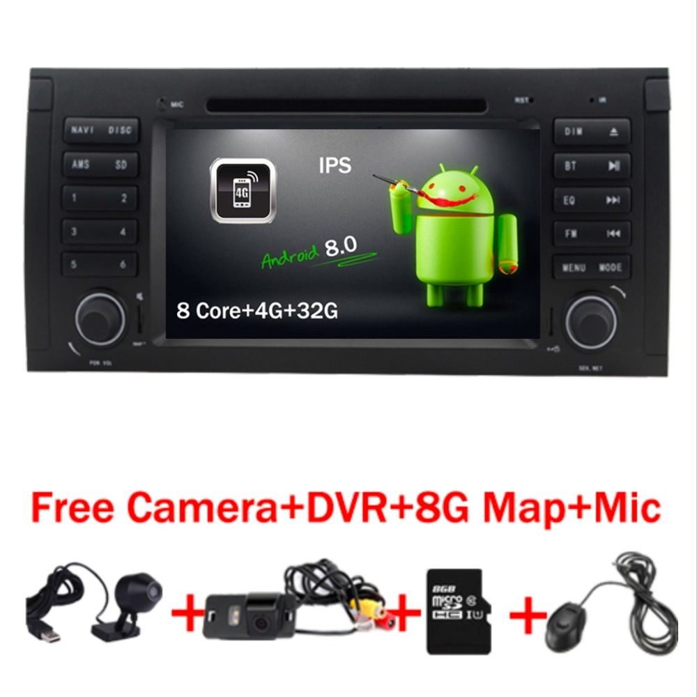 In Stock Android 8.0 Car DVD Player for BMW E53 android GPS E39 X5 Wifi 4G Quad 1024X600 BT Radio RDS USB SD Free Camera+DVR