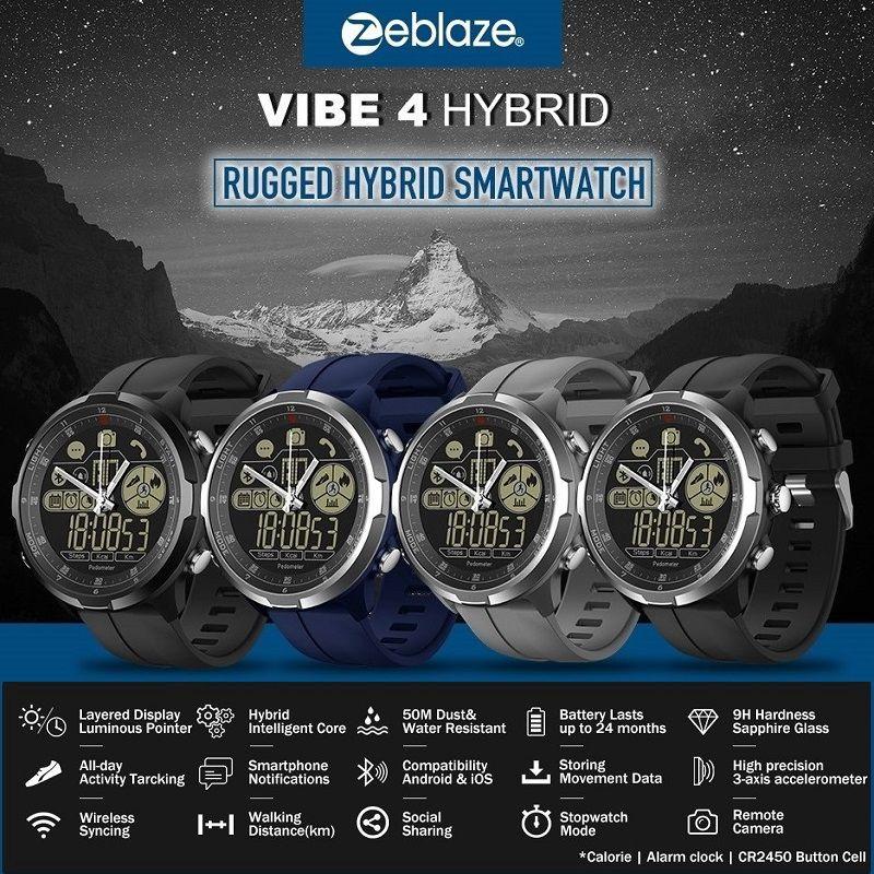 New Original Zeblaze VIBE 4 HYBRID Smart Watch Sapphire Glass Rugged Hybrid Smartwatch 50m Waterproof 33-Month Standby Time