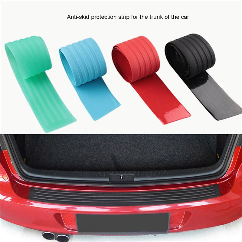 1PC Rubber Car Door Sill Bumper Protector Trunk Guard Plate Sticker Rear Bumper Protection Trim Cover Strip Scratch Plate