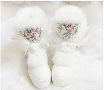 Зимние ботинки на натуральном кроличьем меху Обувь для девочек модные зимние сапоги со стразами Женская плотная теплая Высокая обувь больш...