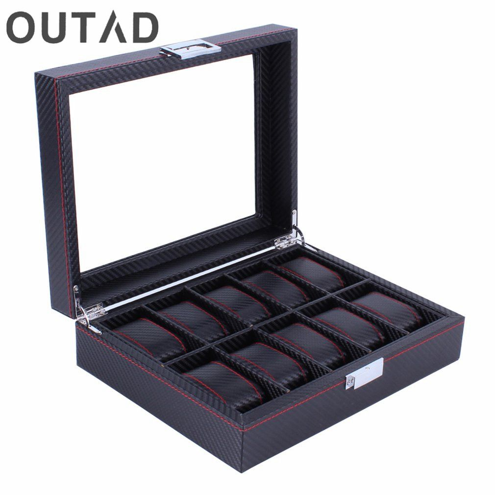 OUTAD Wooden Watch Box Carbon Fibre Modern 10 <font><b>Grids</b></font> Pattern Watches Storage Display Slot Case Organizer Winder Gift For Friends