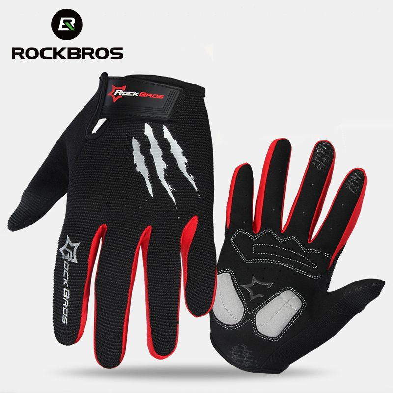 ROCKBROS Cycling Gloves Sponge Pad Long Finger Motorcycle Gloves For Bicycle Mountain Bike Glove <font><b>Touch</b></font> Screen MTB Gloves