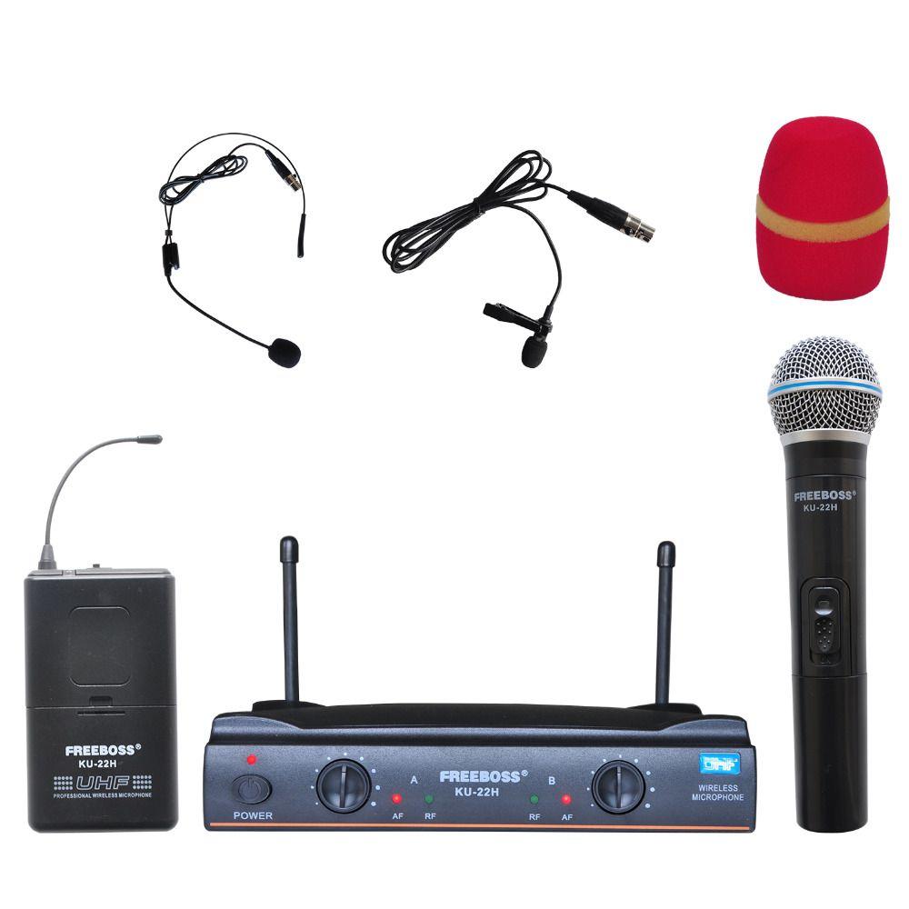 Freeboss KU-22H UHF Dual Channel Mic Transmitter Professional Karaoke Wireless Headset + Lapel + Handheld Microphone