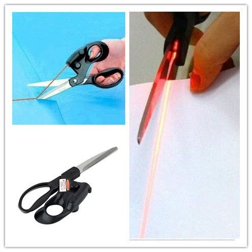 Eine Professionelle Laser Guided Scissors Für heim Handwerk Einwickeln Geschenke Stoff Nähen Geschnitten Gerade Schnell mit batterie