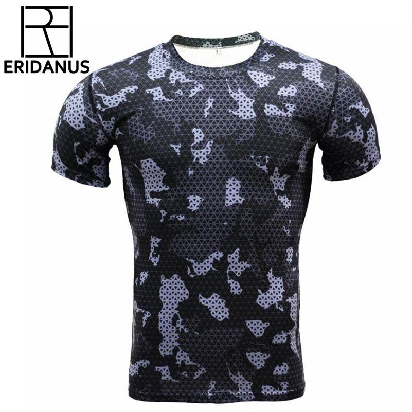 Compression t shirts Camouflage Crossfit Fitness Hommes Collants Bodybuilding T-Shirt D'entraînement Hauts À Séchage Rapide Marque Vêtements Mâle X520