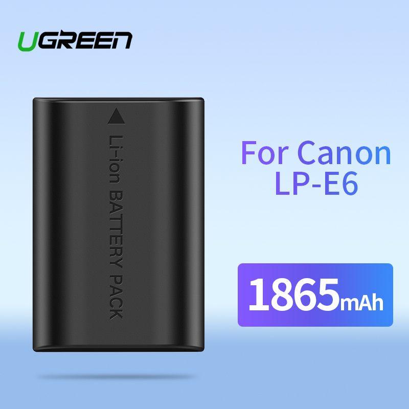 Ugreen LP-E6 Caméra Batterie 1865mAh pour Canon LP E6 EOS 5D Marque 4/3/2 60D 5D4 70D 6D 6D2 5D2 7D 7D2 80D 5DS Batteries de Caméra