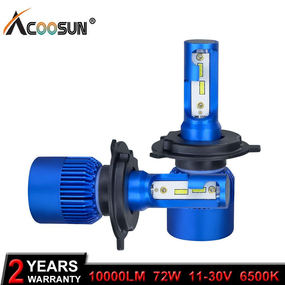 AcooSun H4 H7 Led Voiture Phare H1 H8 H9 H11 HB4 HB3 9006 9005 CSP Puce 10000LM 72 W 6500 K 12 V Voiture Lumière Lampe Automatique De Brouillard