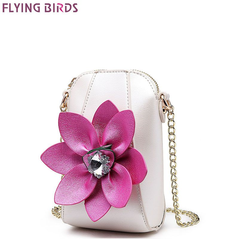 FLYING BIRDS Mini Bags Chains Rhinestone Shoulder Coins Purse Mobile phone bag Women Messenger Bags High Quality Flower Handbag