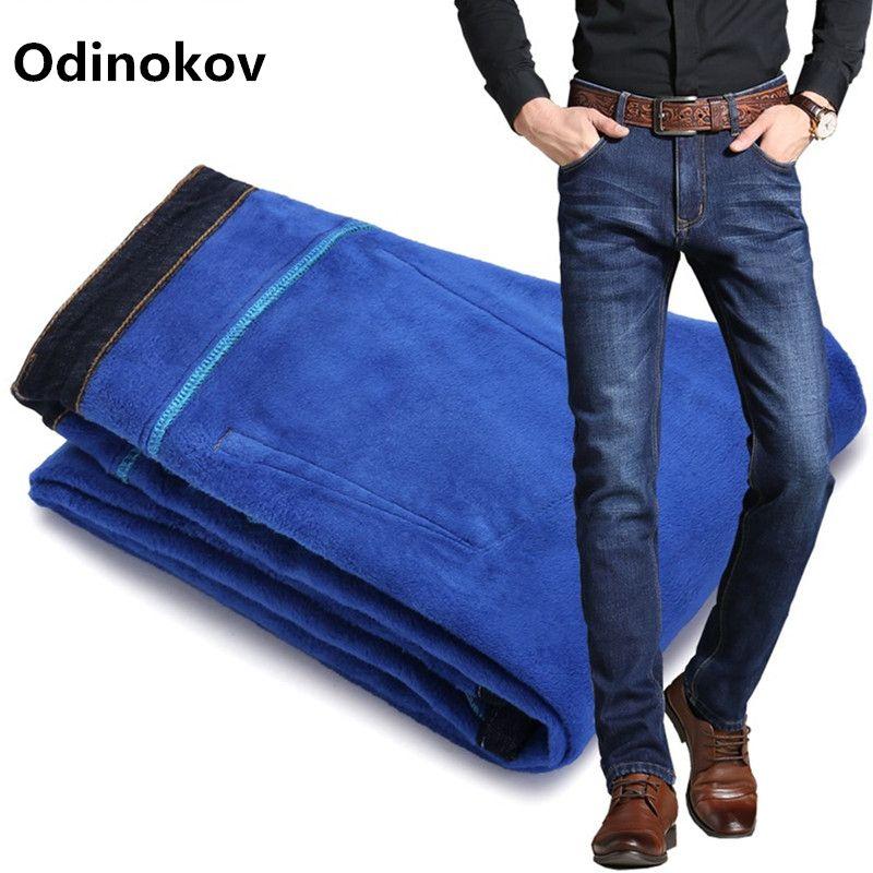 Odinokov Mens Winter Blue Fleece Jeans Lined Stretch Denim Warm  Jeans For Men Designer Slim Fit Brand  Pants Jeans Black Blue