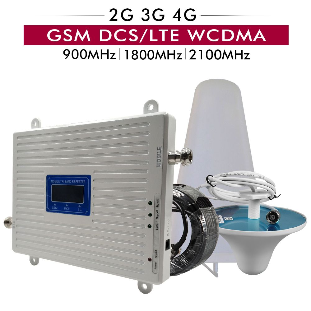 2G 3G 4G Tri Band Booster GSM 900+DCS/LTE 1800+UMTS/WCDMA 2100 Cell Phone Signal Repeater 900 1800 2100 Mobile Signal Amplifier