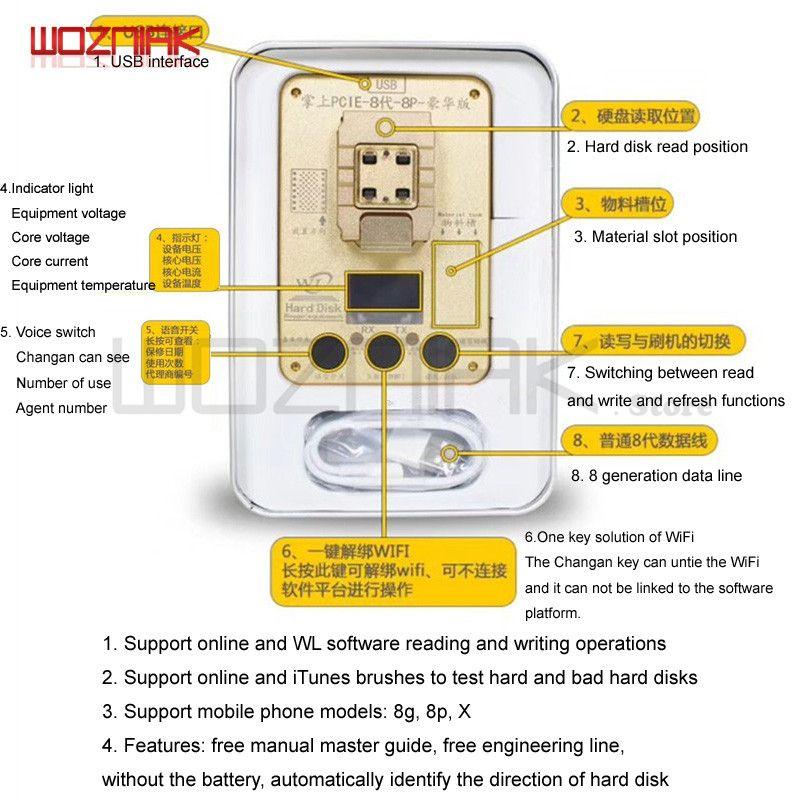 WL PCIE 32 64 Bit Programmierer für Iphone 5 6 6 s 6sp 7g 7 p 8 8 p X NAND festplatte Lesen Schreiben Test Rack Seriennummer SN für iPhone