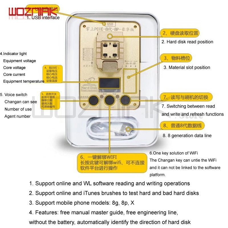 WL PCIE 32 64 Bit Programmer for Iphone 5 6 6s 6sp 7g 7p 8 8P X NAND Hard disk Read Write Test Rack Serial Number SN for iPhone