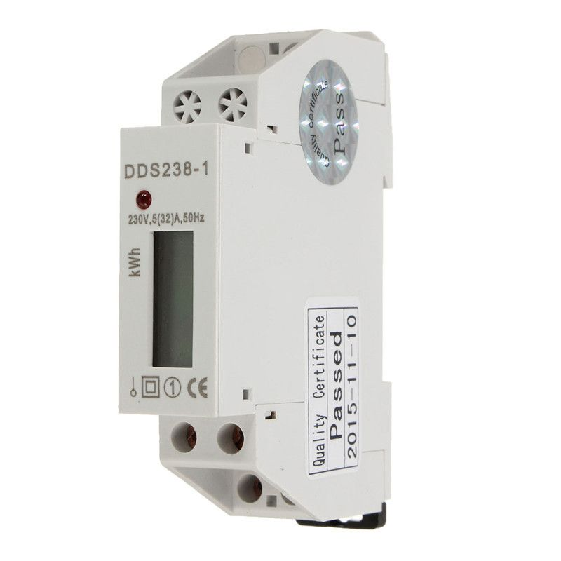 DDS238-1 230V 50HZ Rail-Type Mini Electricity Meter LCD Display Single Phase Electricity Power Consumption Energy Watt Meter
