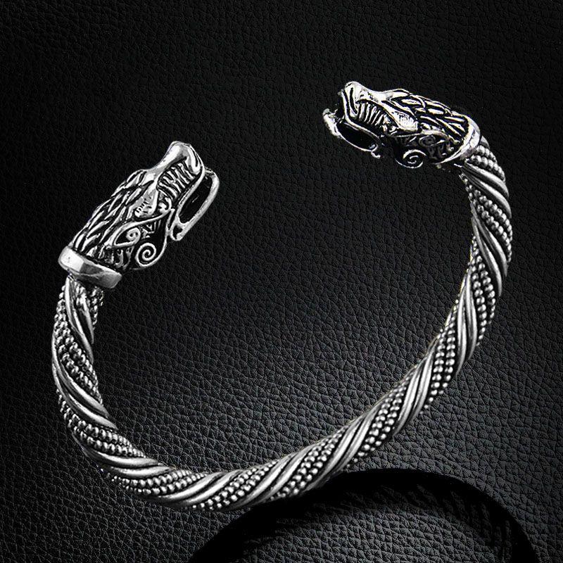 LAKONE Teen Wolf Kopf Armband Indischen Schmuck Mode-accessoires Viking Armband Männer Armband Manschette Armbänder Für Frauen Armreifen