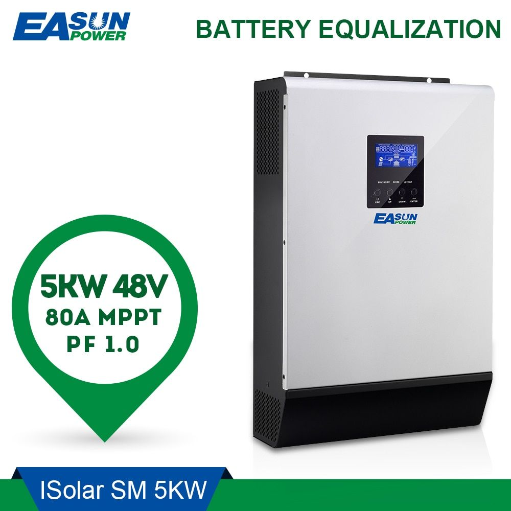 EASUN POWER 5000 watt Solar Inverter 80A MPPT Off Grid Inverter 48 v 220 v Hybrid Inverter Reine Sinus Welle inverter 60A Batterie Ladegerät