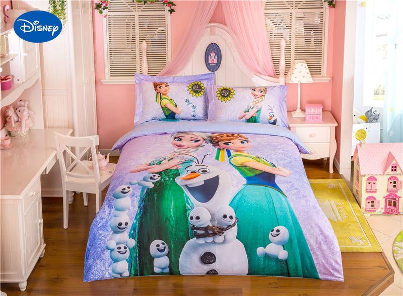 Disney Frozen Elsa and Anna Character bedding 3D Printed Bedding Set for Girls Bedroom Decor Cotton Bed Sheet Duvet Cover sheets