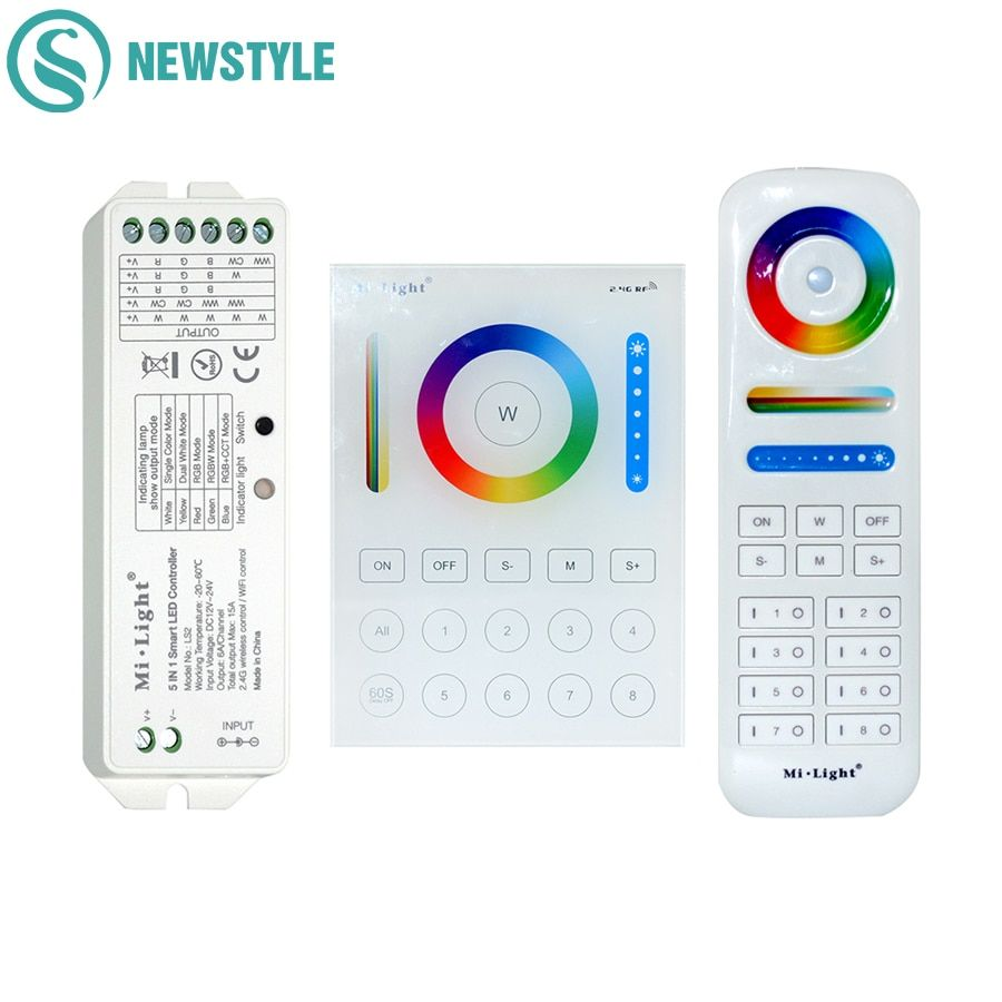 Milight sans fil LS2 5IN1 Smart LED de contrôle B8 mural panneau tactile contrôle RGB CCT LED bande 8 zones RF télécommande