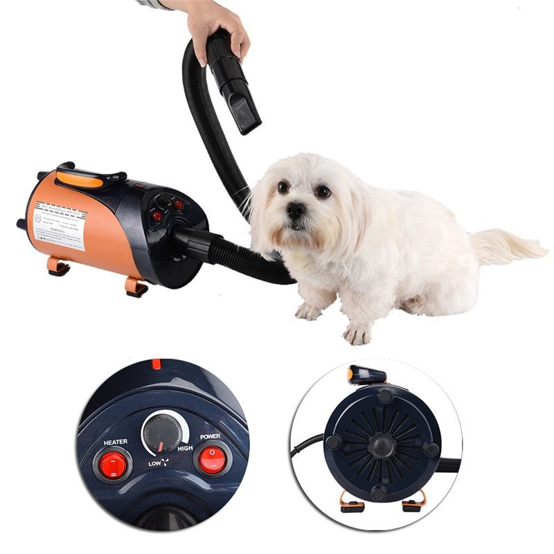 1PCS 2800W Stainless steel Hair Dryer With 3 Nozzle for Pet Dog Cat Pet Force Dryer Heater EU/UK/US/AU 110/220V