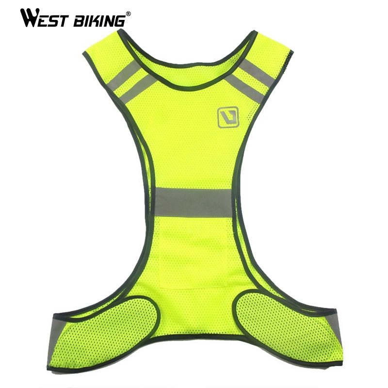 WEST BIKING Adjustable Night Riding Safety Reflective Vest Cycling Vest Safety Warning Fluorescence Night Clothes Bicycle Vest