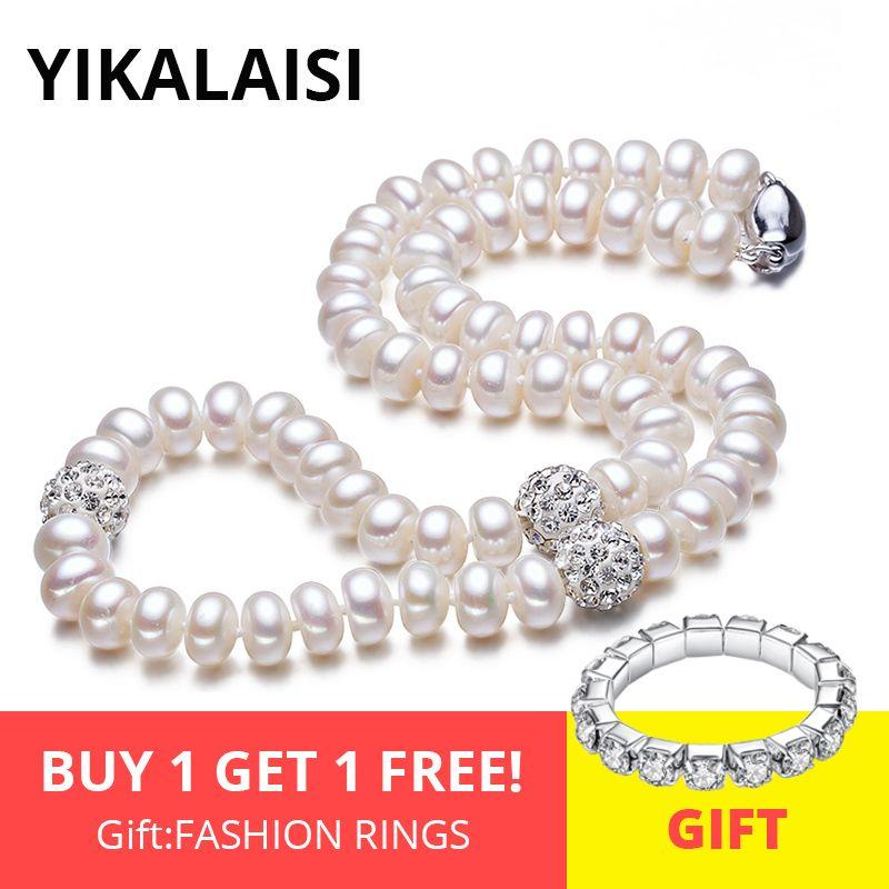 YIKALAISI 925 bouton en argent sterling perle d'eau douce naturelle Chokers collier bijoux pour femmes boule de cristal longueur 45cm