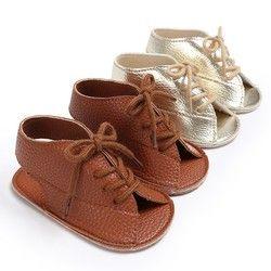 Musim panas Bayi Laki-laki Tampan Mode Lace-Up PU Kulit Lembut Bersol Anti-Slip Newborn Anak Sepatu Sandal