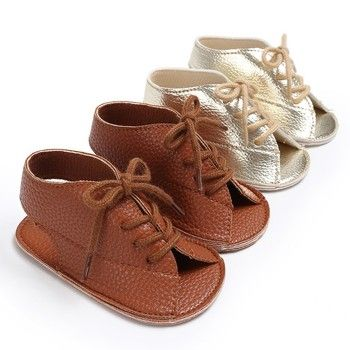 Summer Baby Boys Handsome Fashion Lace-Up PU Leather Soft Soled Anti-Slip Newborn Kids Shoes Sandal